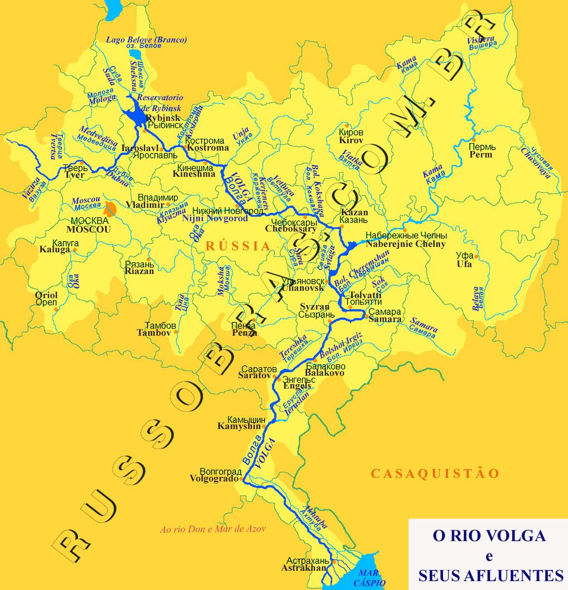 Rio Volga Mapa Fisico.Russia Mapa Hidrografia